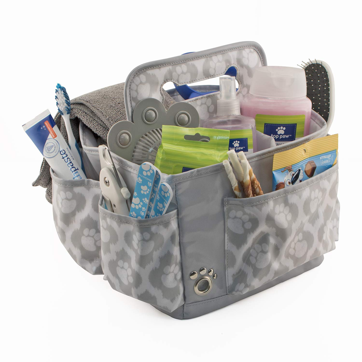 Everything Mary Pet Essentials Grooming Caddy - Deluxe Premium Pet Organizer Storage Tote Bag Bin for Dog Wash Shampoo Accessories
