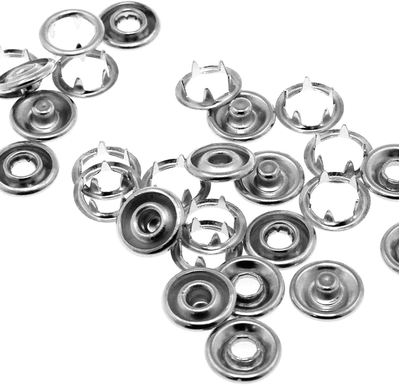 100Pcs LAQI 9.5mm Craft Fastener Press Studs Snap Popper Silver Sewing DIY Tool Kit