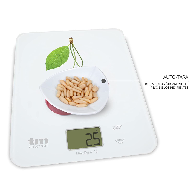 Tm Electron TMPBS022 Báscula digital de cocina ultra delgada con diseño de cerezas, pantalla LCD de 18 mm Cristal, Blanco: Amazon.es: Hogar