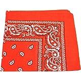 TC Accessories - Pañuelo cuadrado de algodón con estampado de cachemir, color naranja