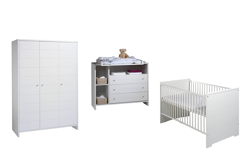 Schardt Kinderzimmer Eco Stripe bestehend aus Kombi-Kinderbett 70x140 cm (inklusive Umbauseiten), Wickelkommode mit Wickelaufsatz und 3-türigem Kleiderschrank