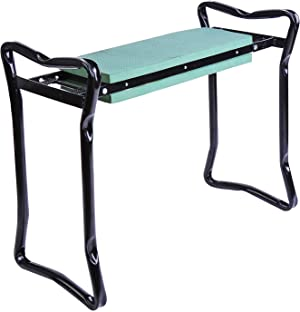 Outsunny Padded Garden Kneeler and Seat Bench, Padded Foldable Garden Stool, Green