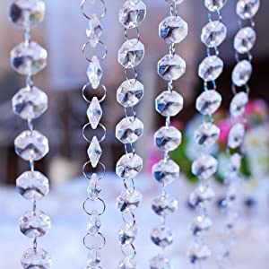 66 Feet Crystal Acrylic Gems Bead Garland Strands Beaded Curtain Hanging Clear 14mm Diamonds Chain Octagon Chandelier for Tree Centerpiece Wedding Decoration Event Party Christmas Decor