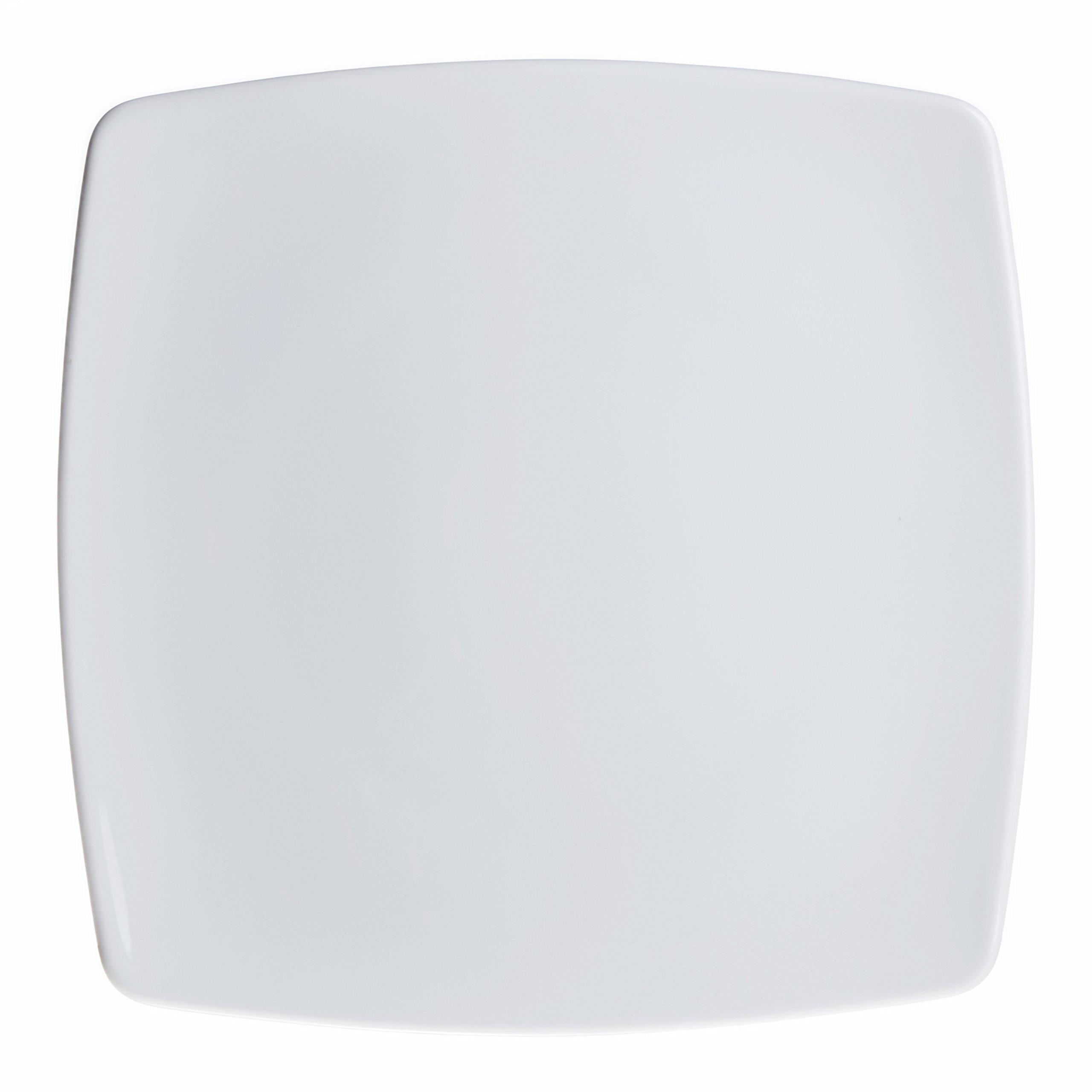 6-Piece Square Dinner/Serving Plates Set, White Porcelain, Restaurant&Hotel Quality, size 10.2''