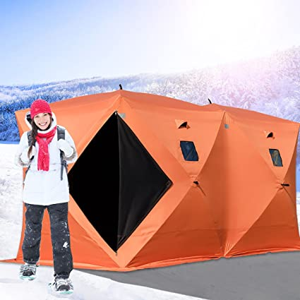 brand new 43644 e1d5b Happybuy Ice Shelter 2 3 4 8 Person Popup Portable Ice Fishing Shelter Top  Insulated Ice Shelter Tent for Fishing Outdoor (Orange for 8 Person)