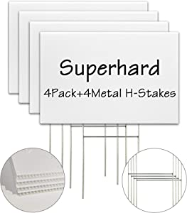 Blank Yard Signs with Stakes, 4 Pack 18 x 12 Inches White Plastic Yard Lawn Sign for Happy Birthday,Garage Sale Signs, Rent, Guidepost Decorations, Blank Lawn Signs with Stakes