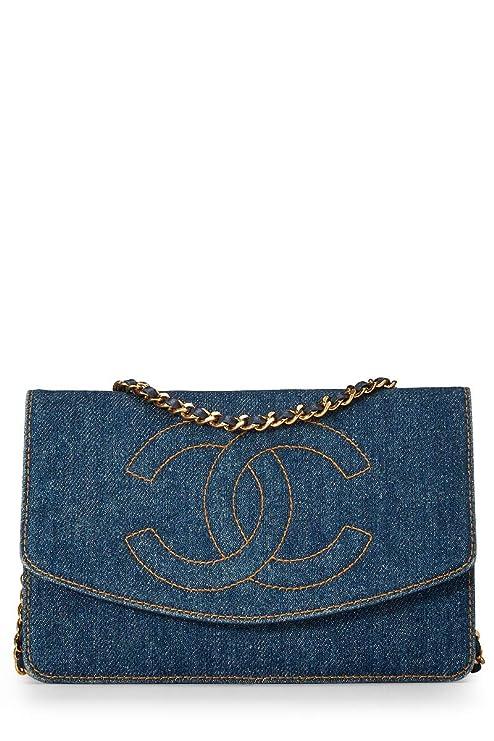 cf25c9ce13c942 CHANEL Blue Denim Timeless Classic Wallet on Chain (WOC) (Pre-Owned):  Handbags: Amazon.com