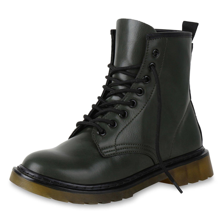 SCARPE VITA Damen Stiefeletten Worker Boots mit Blockabsatz Metallic Profilsohle Dunkelgrün Lack