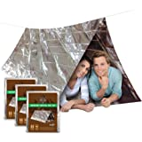 [3 PACK] DON'T DIE IN THE WOODS Ultralight Mylar Emergency Shelter For Outdoor Survival Kits • 2 Person 8x5 Tube Tent + 20ft Rope • Use As Blanket, Sleeping Bag, Bivey For Hiking, Camping, Backpacking