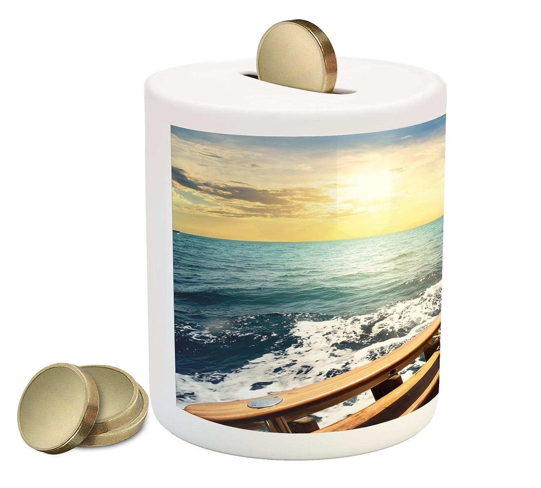 NauticalコインボックスBank by Ambesonne、ヨットYacht On Wavy Sea At Sunset Picture旅行ハワイアンアドベンチャーRelaxing、印刷セラミックコイン銀行お金ボックスの保存の現金、マルチカラー   B07BFXBWWH