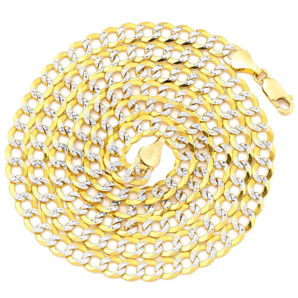 LoveBling 10K Yellow Gold 5.5mm 20'' Solid Pave Two-Tone Curb Chain Necklace with White Gold Pave Diamond Cut, with Lobster Lock