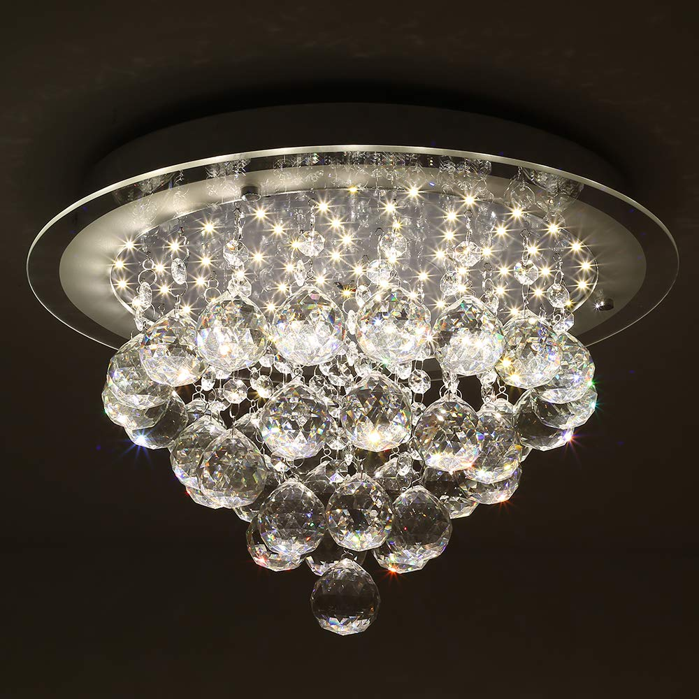 Horisun Crystal LED Ceiling Light Fixture Flush Mount, K9 Gorgeous Crystal Ball Pendant Lamp Ceiling, Dimmable Modern Round Chandelier for Dining Room, Bedroom, Kitchen, Staireweel, 4000K, 1980LM by Horisun