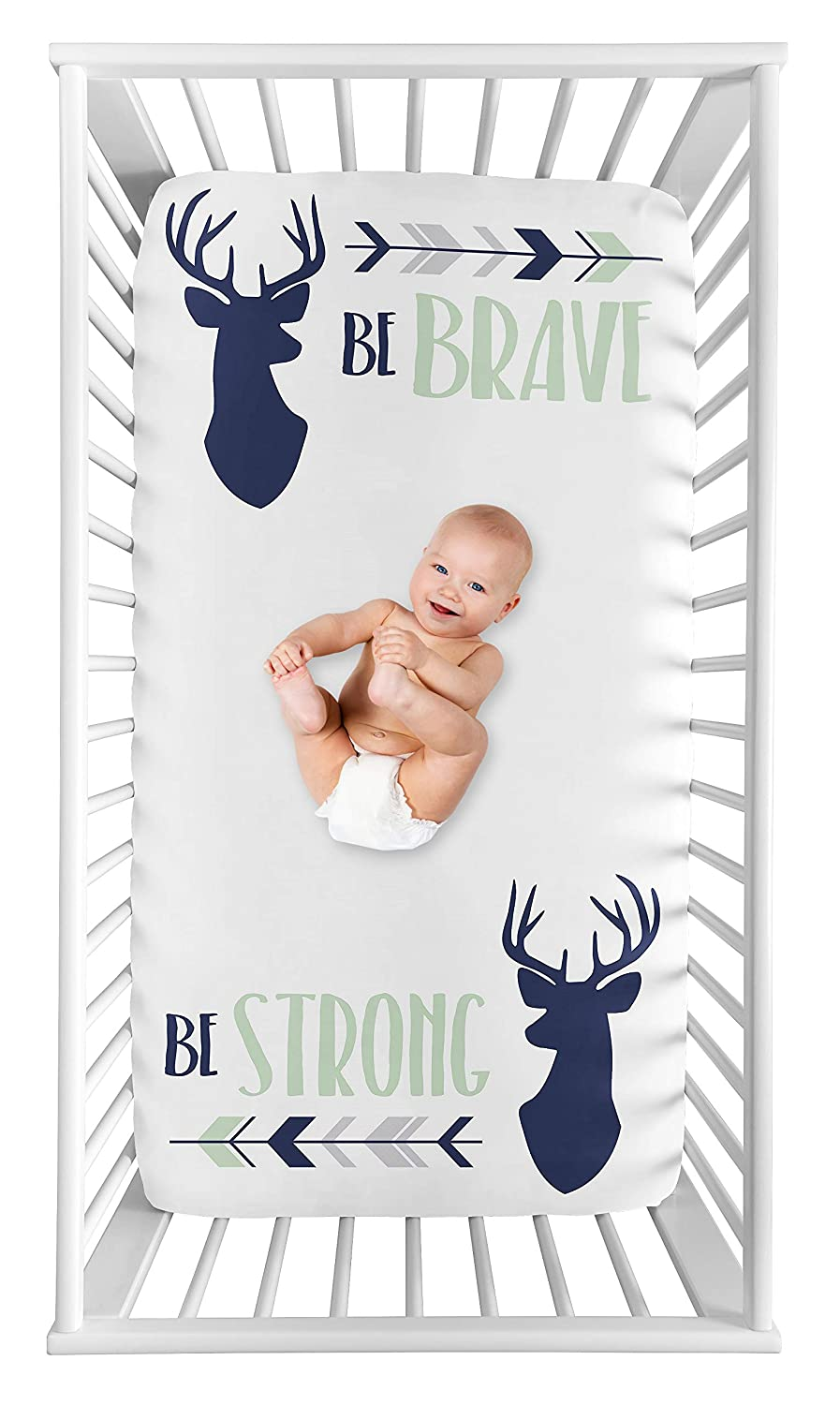 Sweet Jojo Designs Woodland Deer Boy Fitted Crib Sheet Baby or Toddler Bed Nursery Photo Op - Navy Blue, Mint and Grey Woodsy Arrow Be Brave Be Strong
