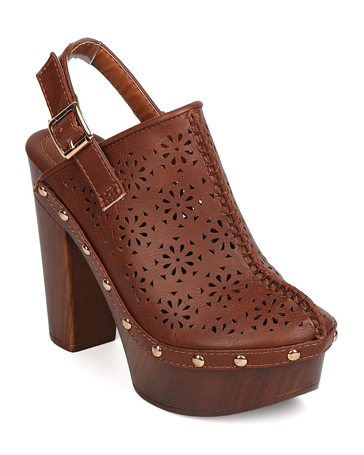 Nature Breeze FA70 Women Leatherette Perforated Studded Chunky Heel Mule - Cognac