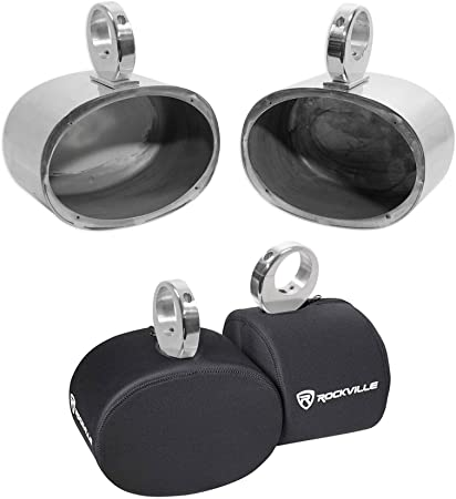 Pair Rockville MAC69S 6x9 Silver Aluminum Wakeboard Tower Speaker Pods+Covers