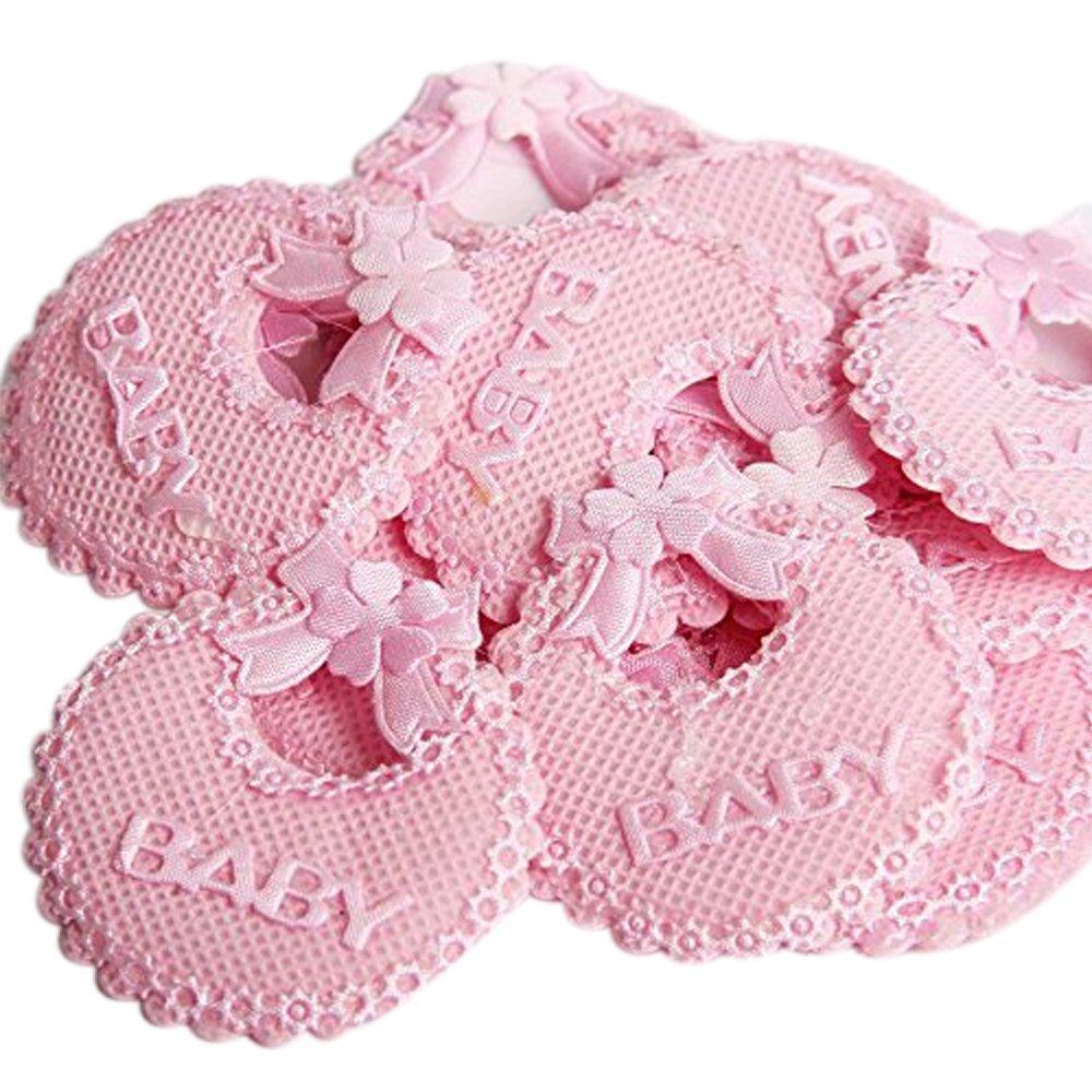 C.X.Y. - Baberos decorativos con lazo, para bomboneras de nacimiento o bautismo, accesorios para cajas o botes, 50 unidades ROSA 50 unidades ROSA
