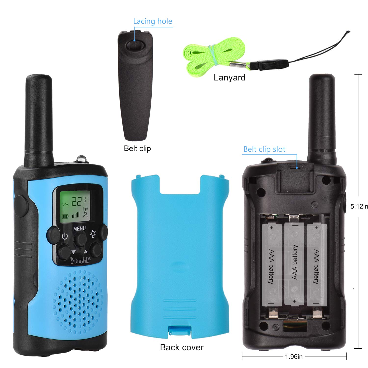 Walkie Talkies for Kids 22 Channel 3 Mile Long Range Many People Use It to Prevent Children's Myopia and Away from Electronic Games Best Birthday Gifts for 4-6 Year Old Boys Girls More Fun Game (Blue) by Buuuble (Image #6)