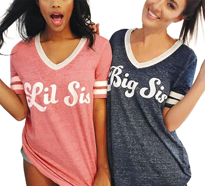 Sommer Damen V-Ausschnitt Best Freund T-Shirt Big Lil Sis Gedruckt Top Bluse Tee