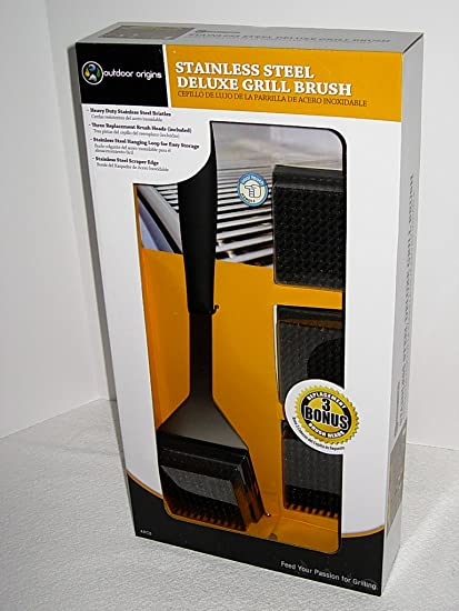 Cool Touch Handle Stainless Steel Grill Brush with Three Replacement Heads