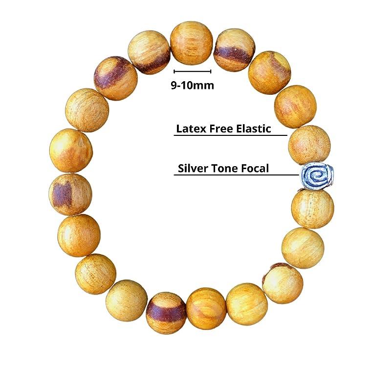 Sandalwood Fair Trade ~ Vintage  Kyanite ~ Sterling Genuine Untreated Therapeutic Quality Organic Energy Bracelet 6mm