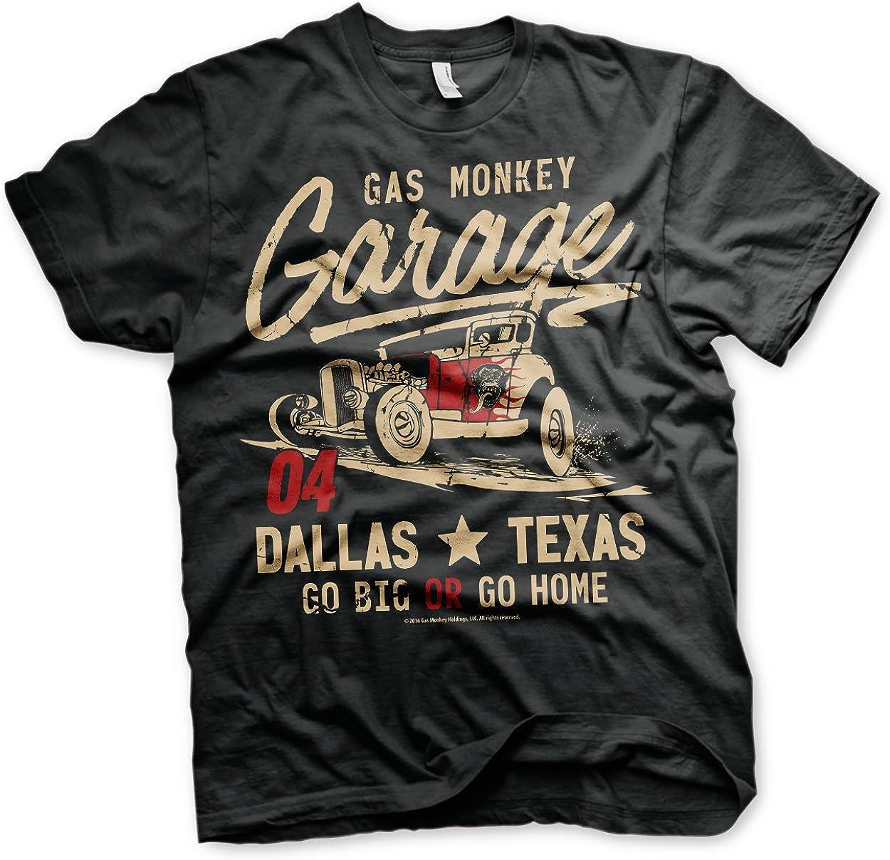 Gas Monkey Garage Officially Licensed GMG - Go Big Or Go Home 3XL,4XL,5XL Mens T-Shirt (Black)