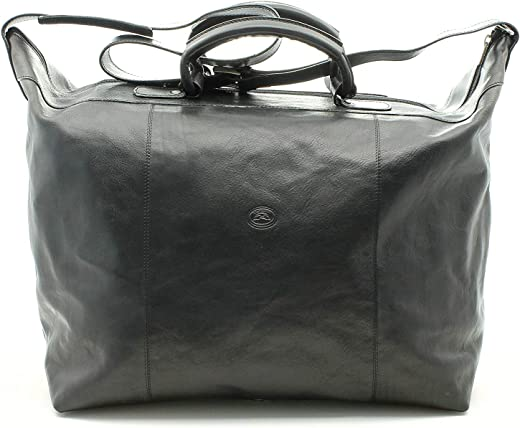 Tony Perotti Unisex Italian Bull Leather Weekend Carryon Getaway Travel Duffle Tote Bag in Black