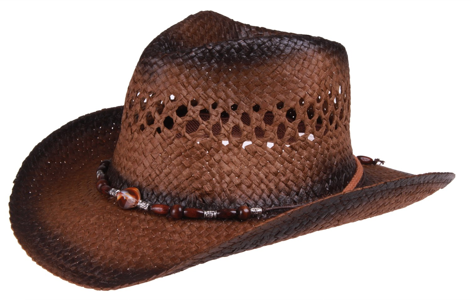 Enimay Outdoor Men's Womens's Western Outback Straw Canvas Cowboy Hat Brown Beaded One Size