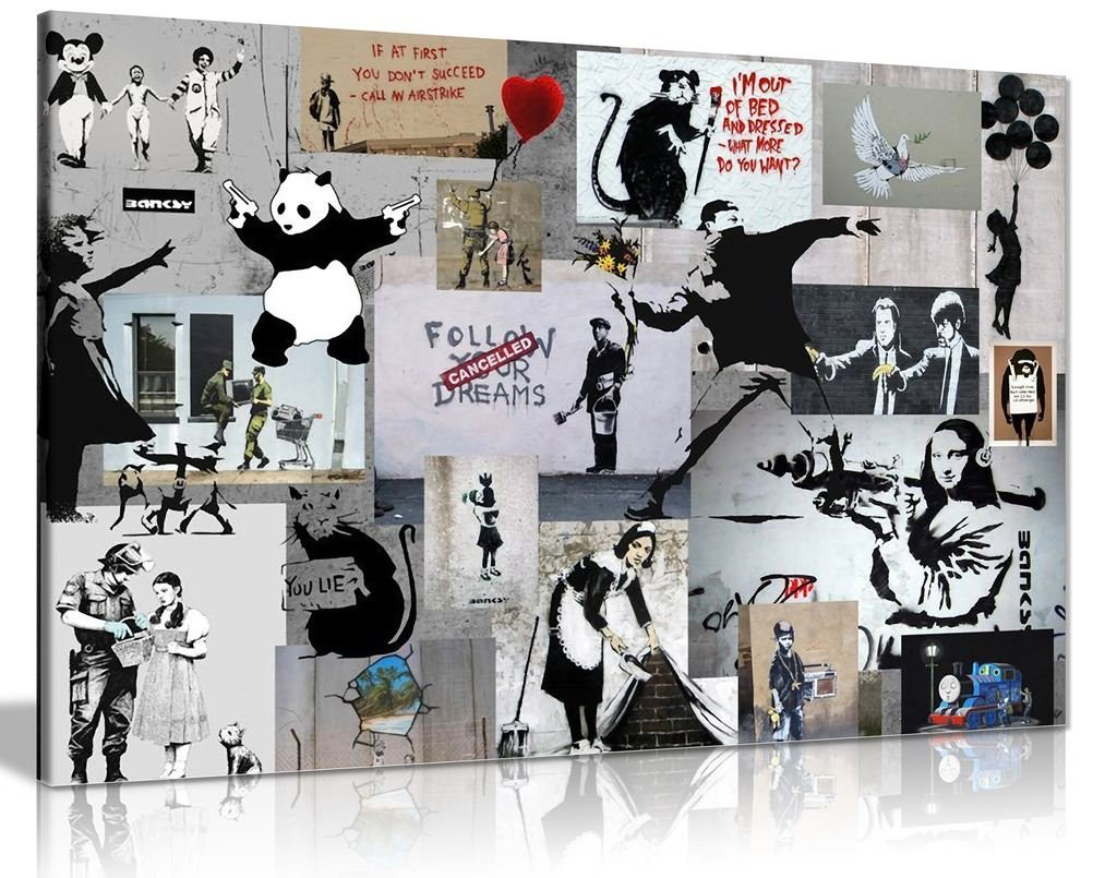 Banksy Wandkunst auf Leinwand – Montage, Collage, Bild, Druck, A1 76x51 cm (30x20in)