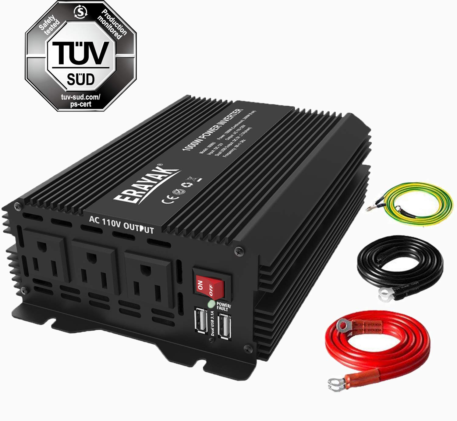 Power Inverter 1000W DC to AC Converter 2000 Watt Peak Inverter for Car with 6.2A Dual USB Ports,TUV Certified by ERAYAK