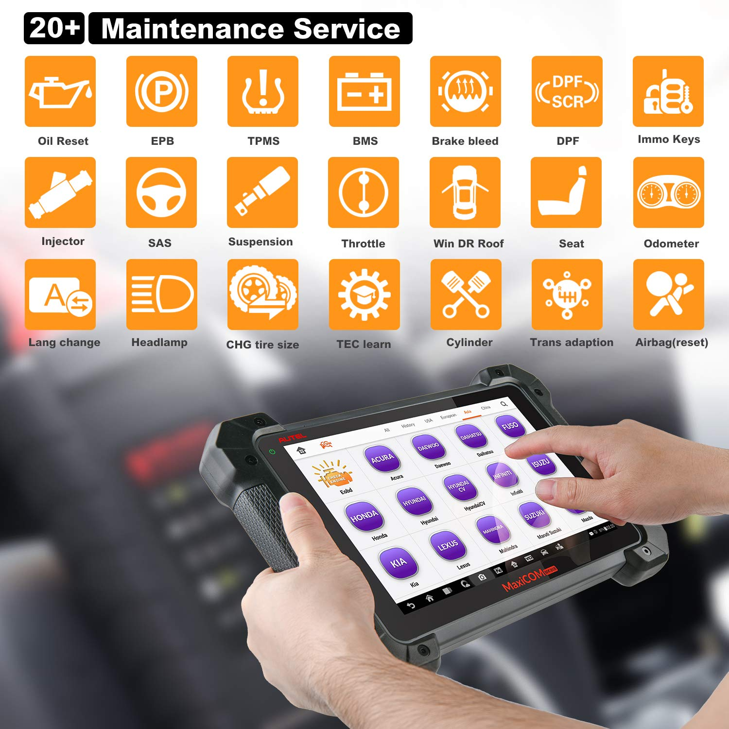 with ECU Coding Active Test Bi-Directional Control with Fuel Injector//Fuel sync Autel Maxisys MS908 Automotive Diagnostic Tool Android Analysis System with Advanced Key Programming ECU Coding