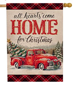 Selmad Christmas 28 x 40 House Flag Farm Red Truck Double Sided, Xmas Pickup Rustic Quote Burlap Garden Yard Décor, Outside Winter Holiday Sweet Home Outdoor Vintage Farmhouse Decorative Large Flag