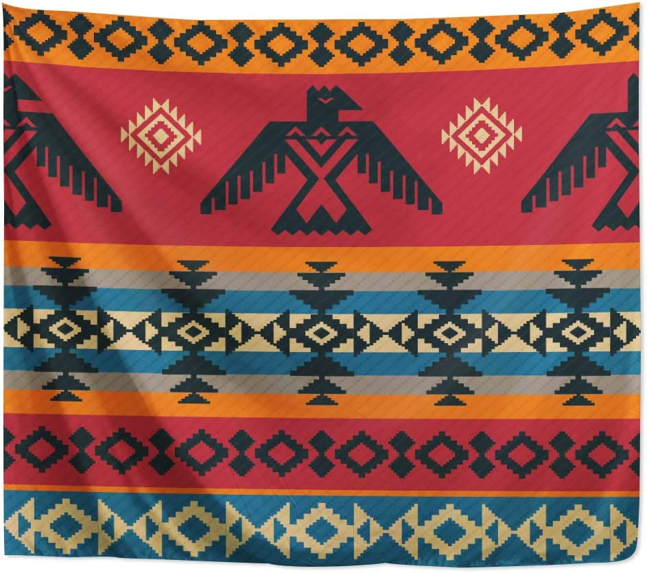 Yookeb Ethnic Eagle Geometric Tapestry 59W by 51H Inch Wall Hanging Geometric Tribal Native American Navajo Totem Hippie Aztec Southwestern Boho Bedroom Living Room Dorm Polyester Fabric Home Decor