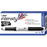 BIC 7321417 Intensity Whiteboard Markers, Great Dry Erase – Bulk Pack of 12 – Low Odour, Fine Point Tip, Non Toxic, Soft Grip - Black