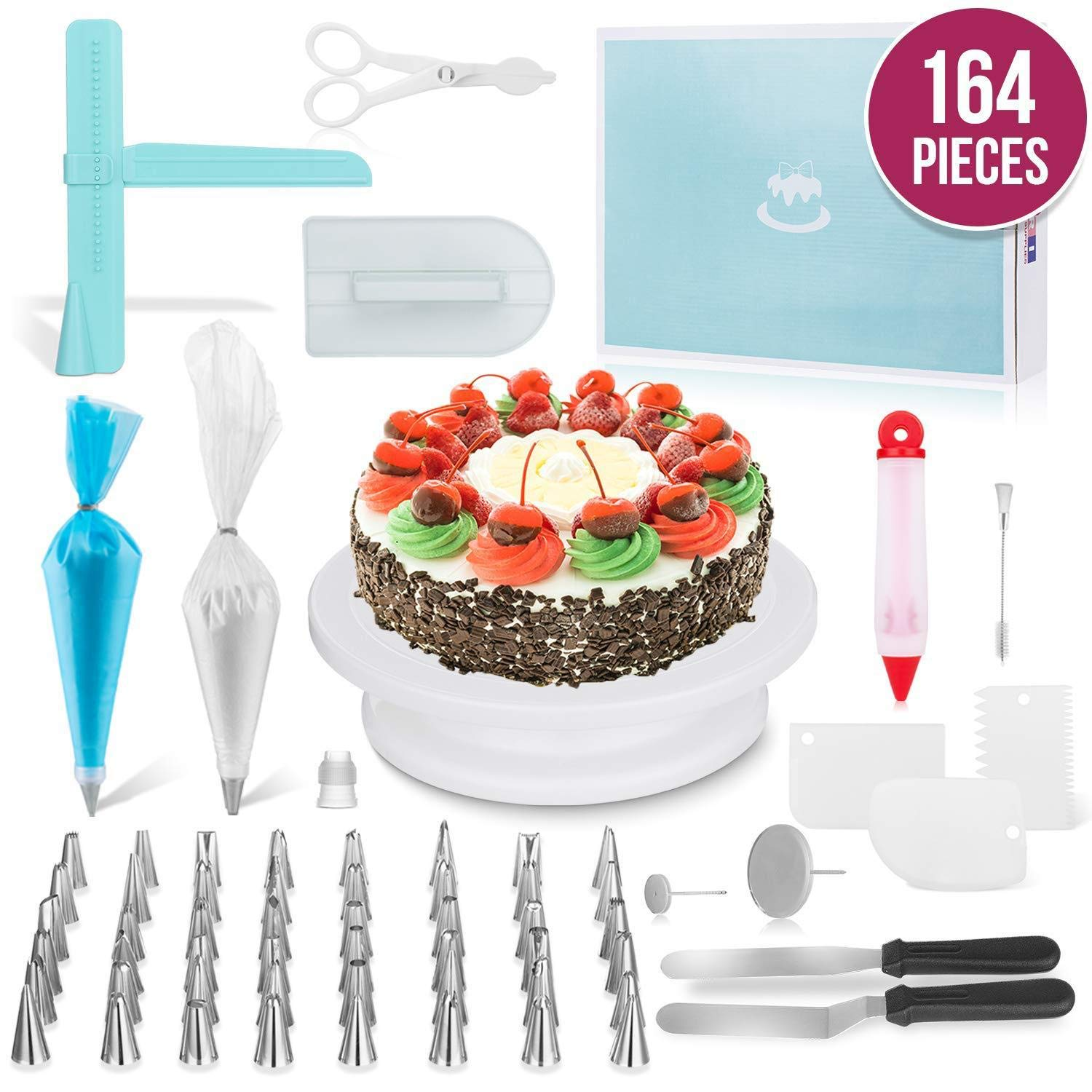 JHKJ 164 -Piece Cake Turntable Set Baking Tool DIY Tool Cake Decorating Kit Supplies by JHKJ (Image #1)