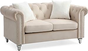 Glory Furniture Raisa , Beige Loveseat, 2 Seater