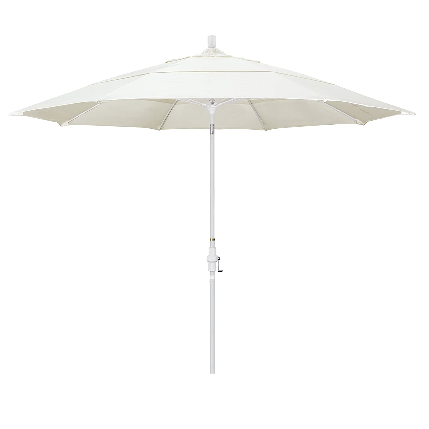 California Umbrella 11 Round Fiberglass Rib Market Umbrella, Crank Lift, Collar Tilt