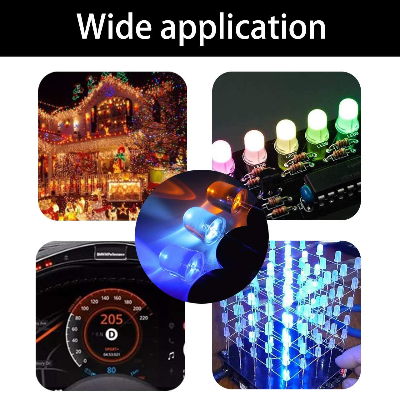 TONGXU Lot de 500 diodes LED 5 mm ultra-lumineuses multicolores pour /émetteurs de lumi/ères LED Composants /électroniques ronds Vert Rouge Blanc Bleu Jaune