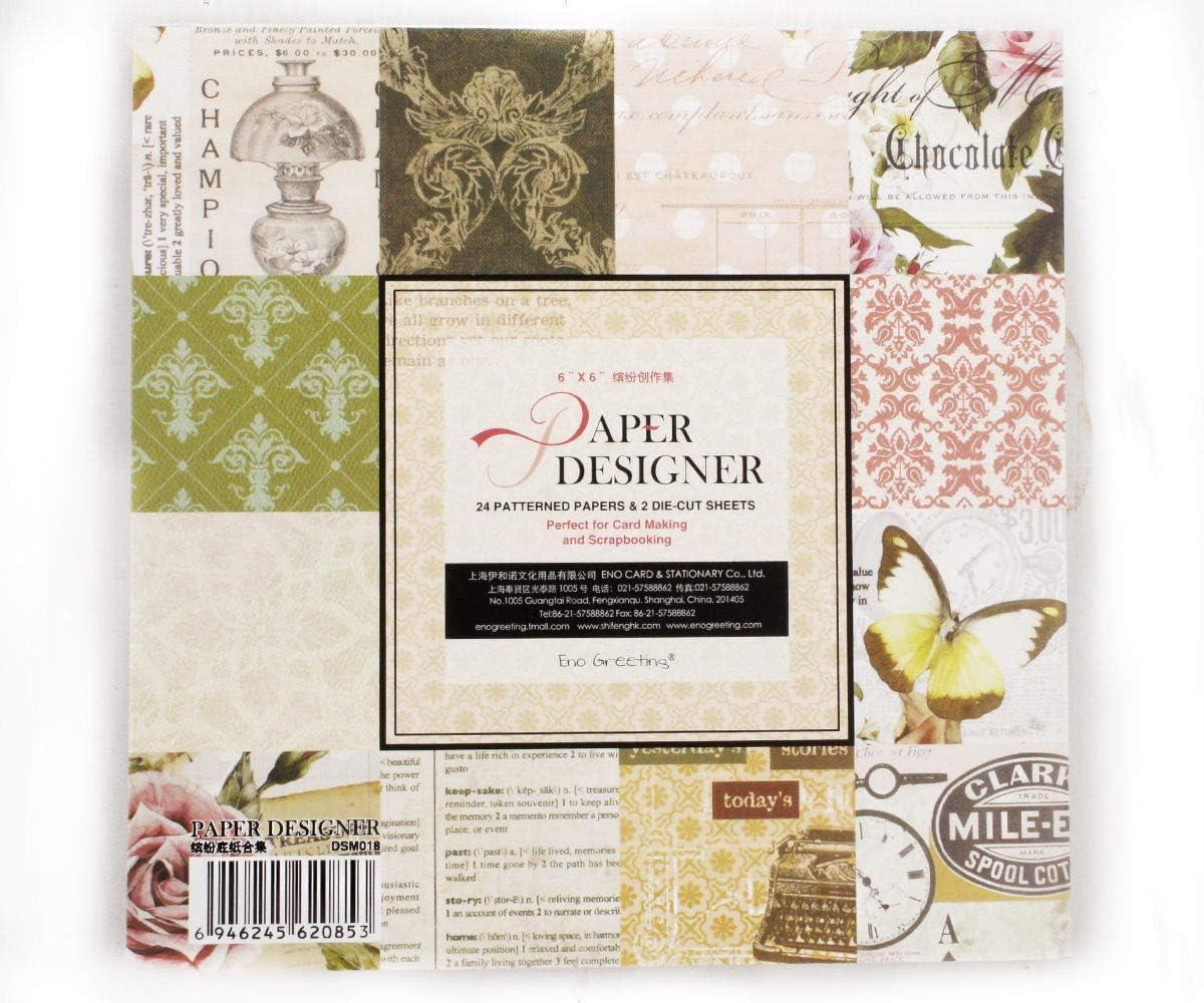 Álbum de recortes de Papel con el Diseño de la Almohadilla Pack De 12 Diseños de 24 Hojas 2 Die-Corte las Hojas de una Sola Cara de Scrapbooking Fabricación de Tarjetas Paperpad