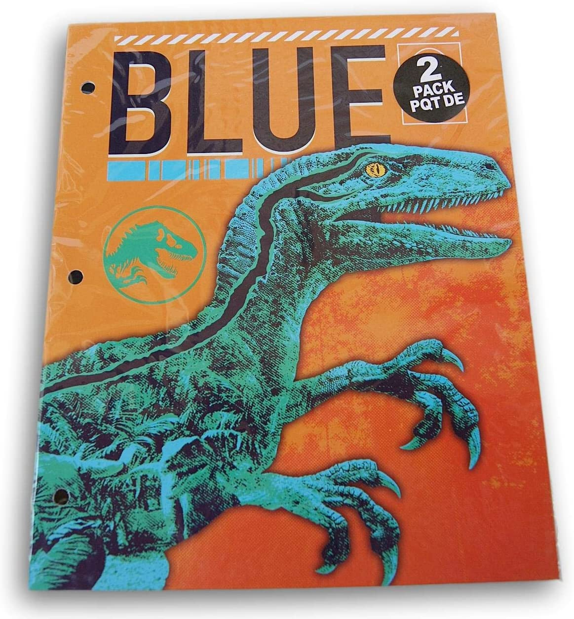 Jurassic World Blue & T-Rex Folders Bundle - Set of Two 3-Hole 2-Pocket Portfolio Folders