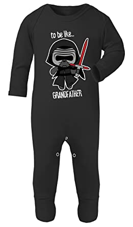 Darth Vader to Be Like Grandfather Star Wars Print Footed Pajamas 100% Cotton (Black