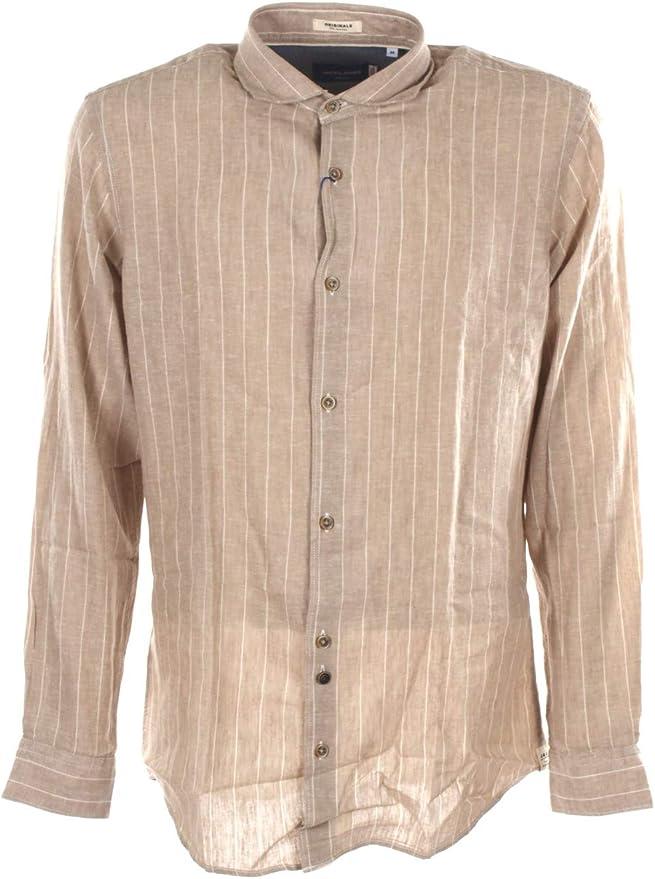 Jack & Jones Camisa de Hombre Tejido Estampado Beige 12170464-CROCKERY: Amazon.es: Ropa y accesorios