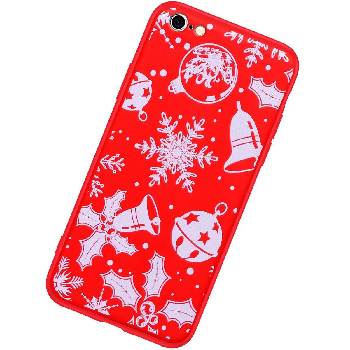 Robinsoni Cover Compatibile con iPhone 6S Cover Silicone Natale Rosso Nuovo Anno Cover Babbo Natale Flessibile Caso Natale Cover Ultra Morbido Sottile Cartoni 360 Gradi Bumper di Gomma