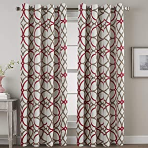 H.VERSAILTEX Thermal Insulated Blackout Curtains for Living Room/Dining Room, Noise Reducing Curtain Drapes for Bedroom, Grommet Curtains Draperies 96 inch Long for Glass Door (Geo in Red & Taupe)