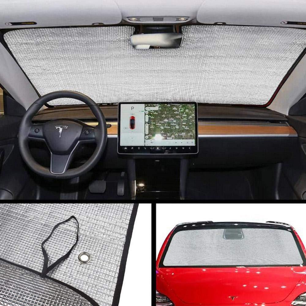passgenau f/ür Frontscheiben-Zubeh/ör h/ält das Fahrzeug k/ühl blockiert UV-Strahlen Foonee Tesla Modell 3 Windschutzscheiben-Sonnenschutz