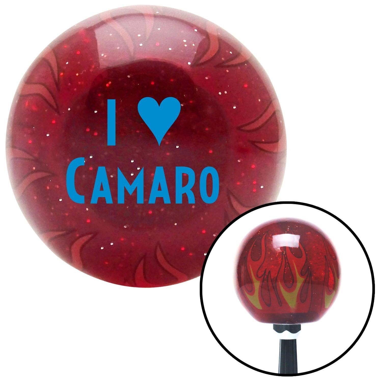 American Shifter 237266 Red Flame Metal Flake Shift Knob with M16 x 1.5 Insert Blue I 3 Camaro