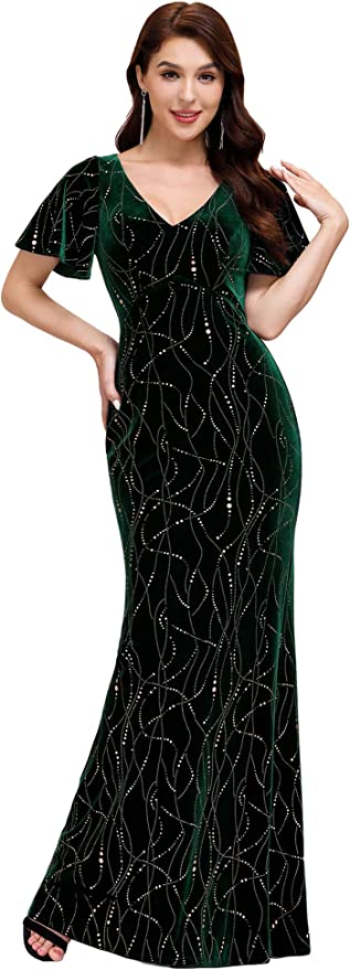1940s Dress Styles Ever-Pretty Womens Alluring V Neck Velvet Evening Dress with Gold Stamping 0303 $44.99 AT vintagedancer.com