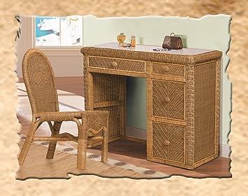 Amazoncom Santa Cruz Wicker Desk and Chair Kitchen Dining