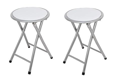 La Silla Española Palma Pack de Taburetes Plegables Acolchados, Aluminio, Blanco, 30x30x45 cm, 2 Unidades