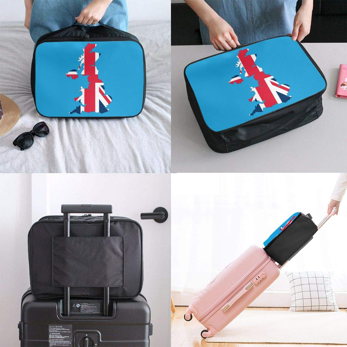 YueLJB UK British Flag Map Lightweight Large Capacity Portable Luggage Bag Travel Duffel Bag Storage Carry Luggage Duffle Tote Bag