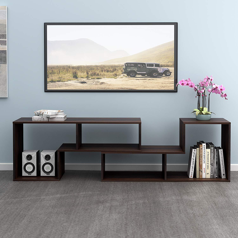 DEVAISE Versatile TV Stand, Entertainment Center Console, Bookshelf for Living Rooms, Dark Oak